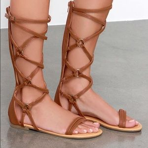 Over Hill, Over Delphi Tan Tall Gladiator Sandals